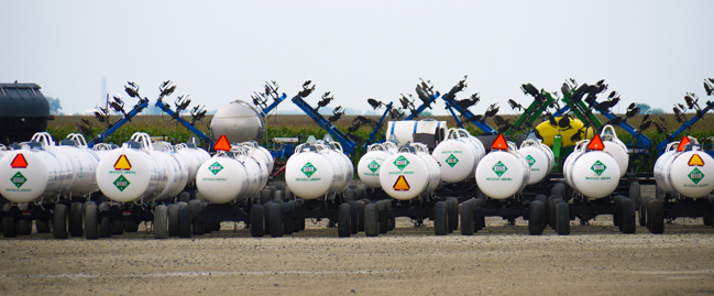 Industrial agricultural sprayers replace depleted nitrogen in soil with anhydrous ammonia